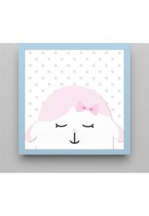 Quadro Amiguinha Ovelhinha Rosa/Azul Bebê 38Cm Grão De Gente Azul