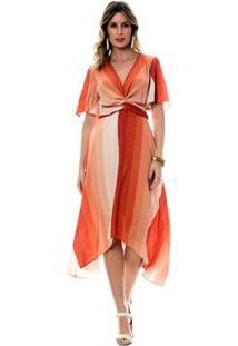 Vestido Bisô Midi Degradê Feminino - Feminino-Coral