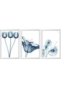 Quadro Oppen House 60X120Cm Flores Abstrato Transparentes Moldura Branca Estilo Raio X Decorativo Interiores Mod:Oh0014