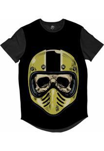 Camiseta Bsc Longline Caveira Capacete Motoqueiro 61 Sublimada Preta