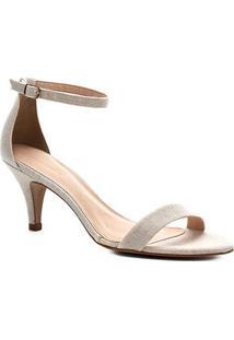Sandália Shoestock Salto Baixo Lona Feminina