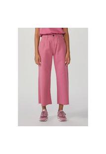 Calça Hering Wide Leg Em Sarja De Algodão Rosa