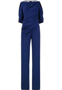 Talbot Runhof Lace Back Draped Jumpsuit - Azul