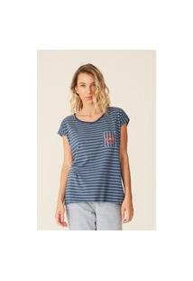 Camiseta Oneill Feminina Pocket Lisrada Beach Club Azul