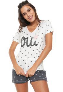Pijama Hering Estampado Off-White/Cinza