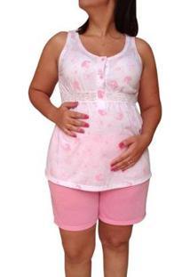 Pijama Linda Gestante Short Doll Regata Amamentação E Pós Parto Feminino - Feminino-Rosa+Branco