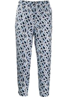 Marni Cropped Printed Trousers - Azul