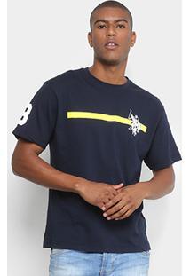Camiseta U.S Polo Assn Estampada Masculina - Masculino-Marinho