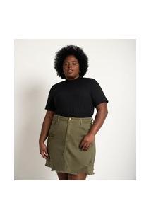 Blusa Em Ribana Com Golinha E Botões No Ombro Curve & Plus Size | Ashua Curve E Plus Size | Preto | Gg