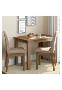 Conjunto Sala De Jantar Madesa Titi Mesa Tampo De Madeira Com 2 Cadeiras Marrom
