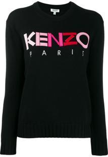 Kenzo Suéter Com Logo Bordado Em Degradê - Preto