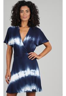 6d5e01ed6 ... Vestido Feminino Curto Transpassado Estampado Tie Dye Manga Curta Azul  Marinho