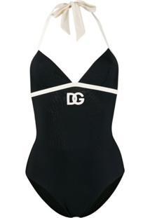 Dolce & Gabbana Maiô Com Bordado De Logo Dg - Preto
