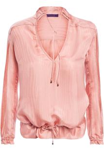 Camisa Feminina Gola Fita Silk - Rosa