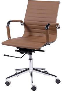 Cadeira Office Eames Esteirinha- Caramelo & Prateadaor Design