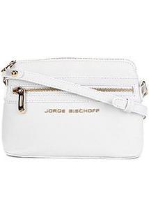 Bolsa Couro Jorge Bischoff Mini Bag Croco Feminina - Feminino-Branco