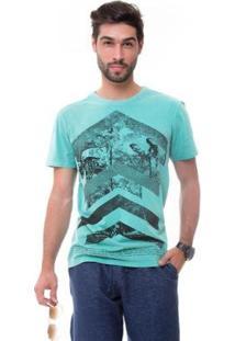 Camiseta D'Affari Estonada Estampada Masculino - Masculino-Verde