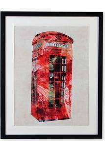 Quadro Em Madeira Gravura London Phone 70X55Cm Colorido