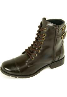 Bota Ankle Boot Dhatz Possui Cadarço E Fecho Éclair Café