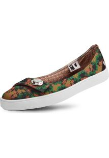 Sapatilha Usthemp Womanly Vegano Casual Estampa Art Floral Marrom