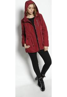 Jaqueta Com Bolsos & Botãµes- Vermelho Escuro- Susan Susan Zheng