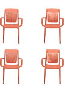 Conjunto Com 4 Cadeiras De Jardim Factory Laranja