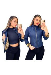 Jaqueta De Couro Feminina Moderna Resistente A Agua E Vento Azul