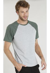 Camiseta Masculina Raglan Básica Manga Curta Decote Careca Cinza Mescla