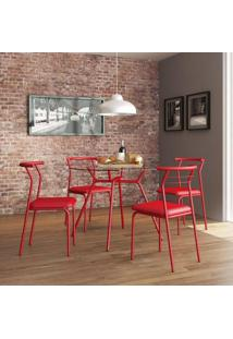 1527170800005 Conjunto Mesa 1527 E 4 Cadeiras 1708 - Carraro, | Cor: Vermelho
