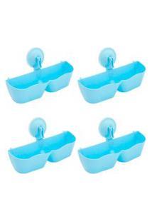 Kit Thata Esportes 4 Sapateira Organizador De Plástico Parede Com Ventosa Azul