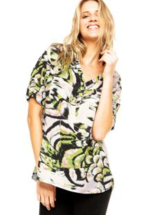 Camisa Holin Stone Animal Print Branca/Verde