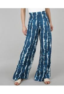 Calça Feminina Pantalona Estampada Tie Dye Azul Petróleo