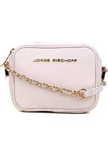 Bolsa Couro Jorge Bischoff Mini Bag Basic Feminina - Feminino-Branco