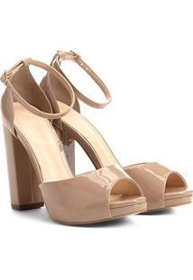 Sandália Shoestock Meia Pata Salto Grosso Feminina - Feminino-Nude