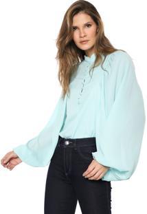 Camisa Lança Perfume Manga Bufante Verde