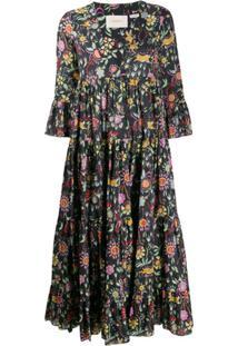 La Doublej Vestido Jennifer Jane Com Estampa Floral - Preto