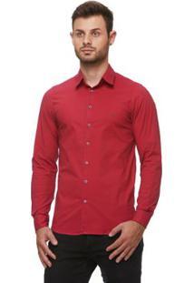 Camisa Fit Zaiko Tingimento Poá Manga Longa Masculina - Masculino-Vermelho