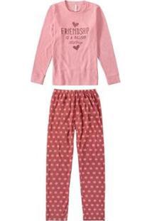 Pijama Malwee Liberta Longo Poás Feminino - Feminino-Rosa Claro