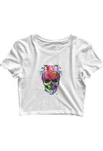 Blusa Feminina Cropped Tshirt Goup Girls Caveira Flor Colors - Feminino