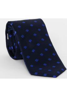 Gravata Em Seda Quadriculada - Azul Marinho & Azul Escurdudalina