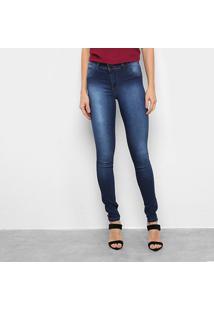 Calça Jeans Grifle Skinny Detalhe Bolso Atrás Feminina - Feminino-Azul