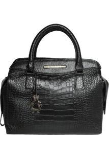 Bolsa De Mão Em Couro Textura Crocodilo - Preta - 28Di Marlys