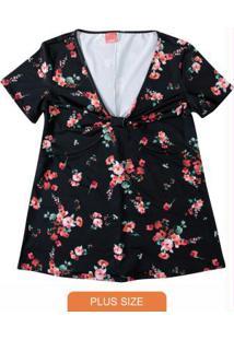 Blusa Preto Floral Decote V Wee!