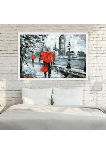 Quadro Love Decor Com Moldura London Red Branco Médio