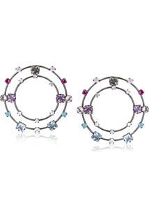 Brinco Argola Frontal Com Dois Círculos E Pedras Azul, Lilás E Rosa Folheado Em Ródio Negro - 2180000000099