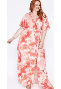 Vestido Longo Almaria Plus Size Sinap Tie Dye Verm