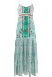Saloni Vestido De Seda Com Pregas E Estampa - Azul