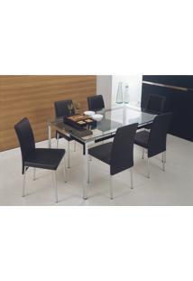 Mesa 328 Vidro Incolor Cromada Com 6 Cadeiras 306 Preta Carraro