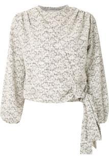 Framed Blusa Cashquere Tweed Com Amarração - Branco