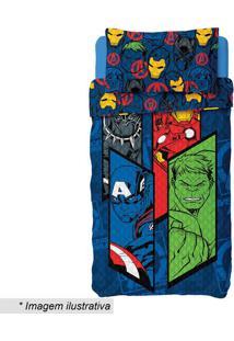 Conjunto De Colcha Dupla Face Avengersâ® Solteiro- Azul Elepper